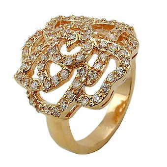 Med zirconia ring forgyldt rose 3 micron