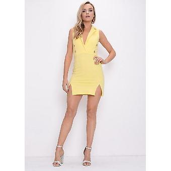 Tauchen Sie ein ärmelloses Mini Blazer Kleid gelb