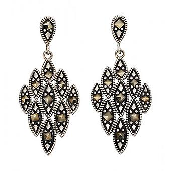 Elements Silver Marcasite Chandelier Drop Earrings - Silver/Black