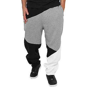 Urban classics - ZIG ZAG sweatpants black / grey
