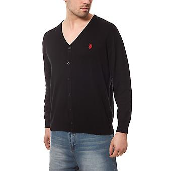 U.S. POLO ASSN. Cardigan men's sweater black