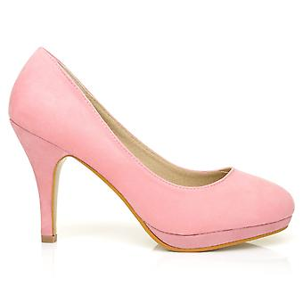 CHIP Baby Pink Faux Suede Pumps Mid-High Heel Low Platform Office Court Shoes