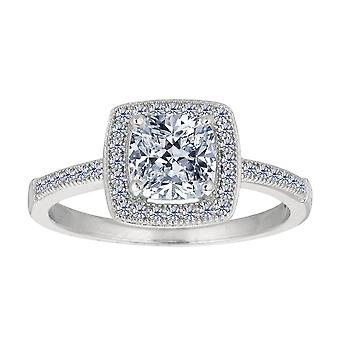 Sterling Silver Cushion Center And Cubic Zirconia Engagement Ring