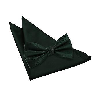 Nœud papillon cocher solide vert foncé & mouchoir de poche Set