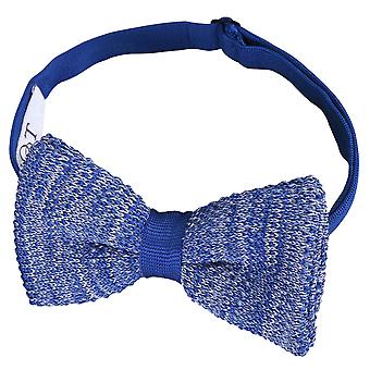 Royal Blue Melange Plain Speckled Knitted Pre-Tied Bow Tie