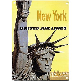 New York United Airlines Metal Sign 200Mm X 140Mm
