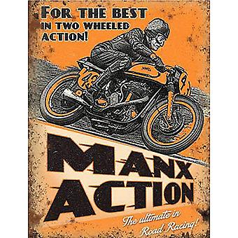 Manx Action Motorcycle Steel Sign 200Mm X 150Mm