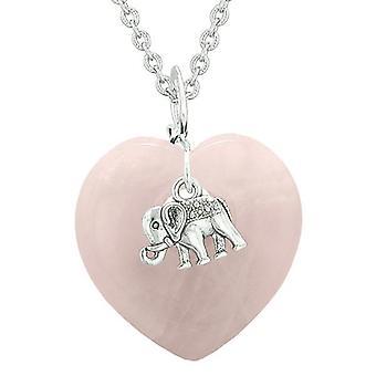 Heldig elefant charme Amulet oppustede magiske beføjelser hjerte rosenkvarts vedhæng 18 tommer halskæde