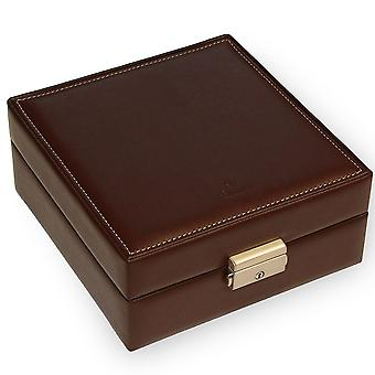 Watch box watch case watch case faux leather beige Mocha suede Office for 8 watches