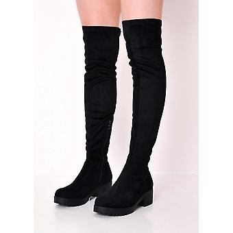 Over The Knee Cleated Sole Faux Suede Platform Boots Black