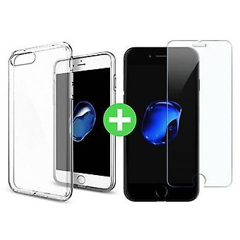 Stuff Certified ® iPhone 7 Plus Transparent TPU Case + Screen Protector Tempered Glass