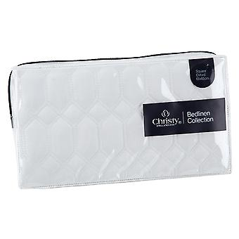 Christy Lattice 100% Cotton Quilted Pillow Sham - White- 65 x 65cm