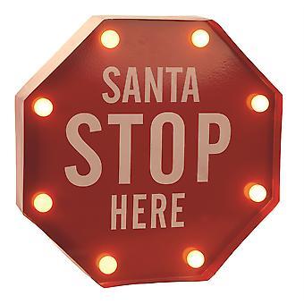 Producciones fiesta Metal LED encendido parada Santa aquí interior pilas muestra Navidad