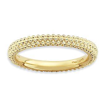 2.5mm zilver gepolijst patroon koepels band Stackable Expressions Gold-Flashed koepels Ring - Ringmaat: 5 tot en met 10