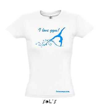 T-Shirt Damen Mädchen Gymnastik Turnen Sport Motiv Spruch weiss Druck hellblau