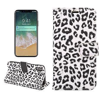 iPhone X Brieftasche Cover Case Leopard-weiß