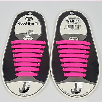 Trendigen Schnürsenkel, die nicht sein müssen gebunden 8 Paare, scharfe rosa