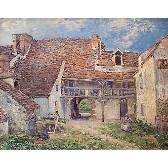 Courtyard of Farm at St-Mammes,Alfred Sisley,50x40cm
