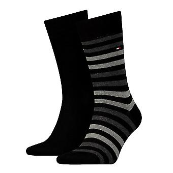 Tommy Hilfiger 2 Pack Duo Stripe Sock - Black