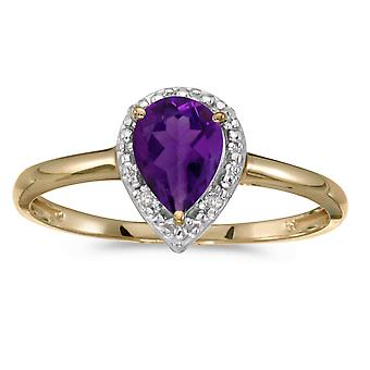 10k Yellow Gold Pear Amethyst And Diamond Ring