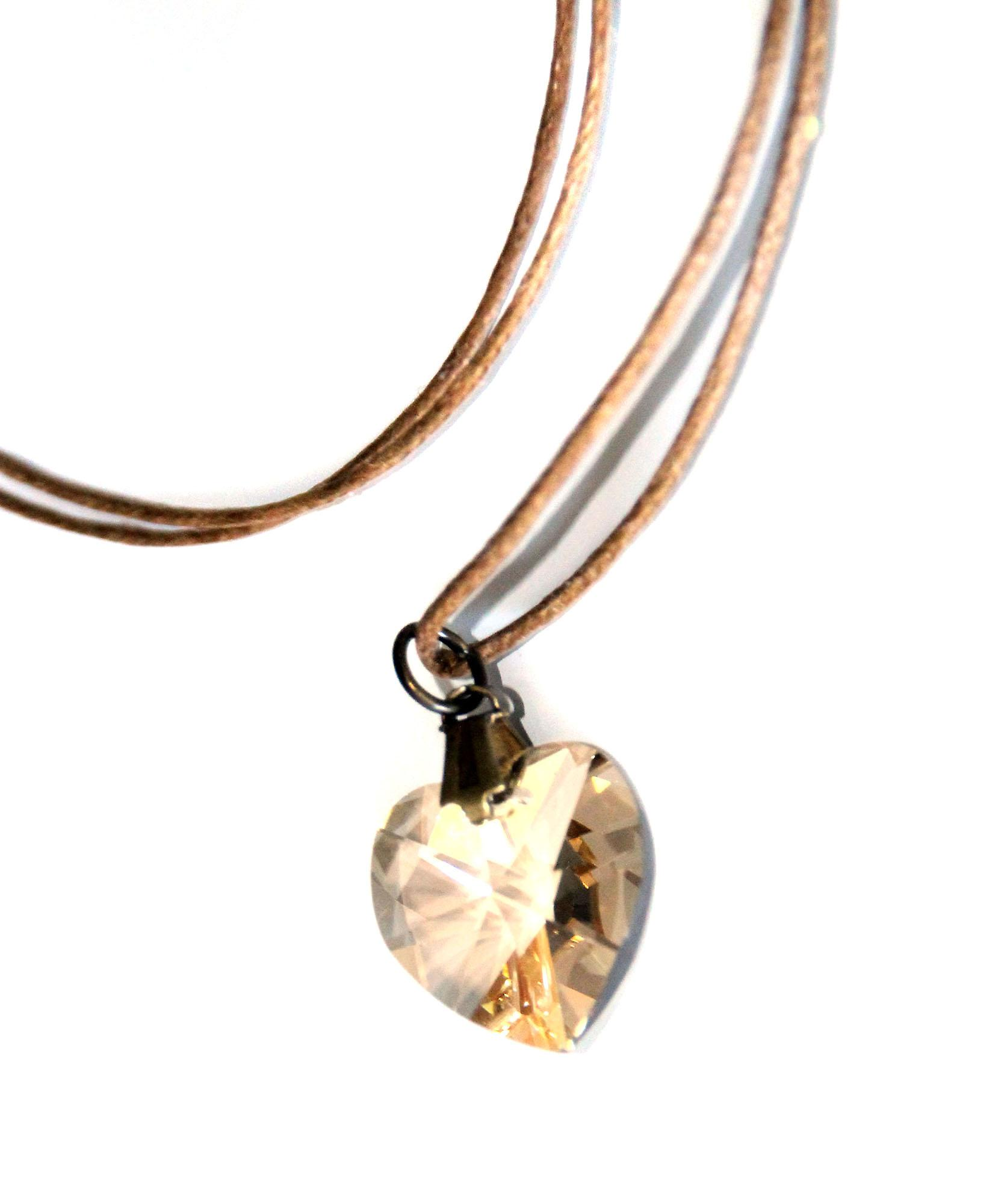 Waooh - Jewelry - Swarovski / Pendant heart with beige wax cord - Café