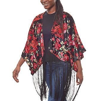 Laura Scott of floral ladies fringed Poncho in the form of kimono