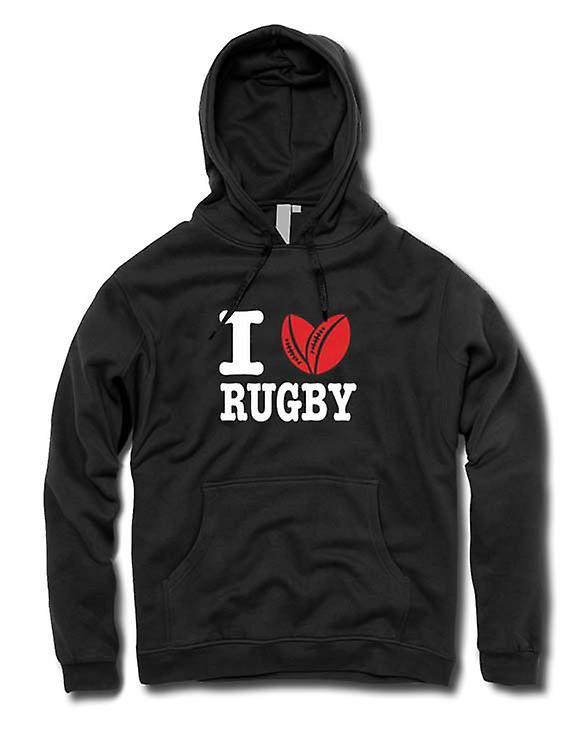 Barna hettegenser - jeg elsker Rugby