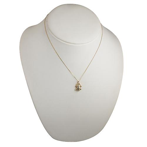 9ct Gold 18x13mm solid Frog Pendant with a curb Chain 18 inches