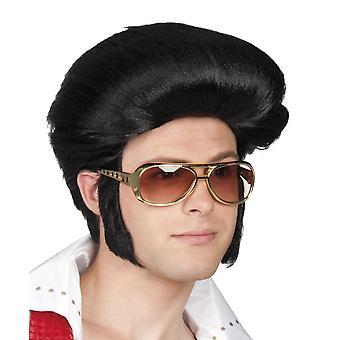 WIG Elvis Rock 'n Roll czarny Fancy Dress akcesorium