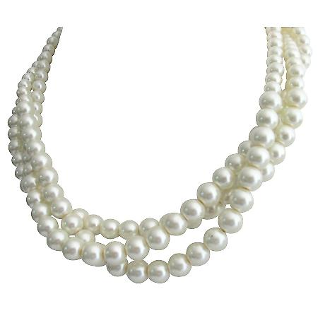 Ivory Pearl Twisted Three Strand Necklace Wedding Pearl Jewelry