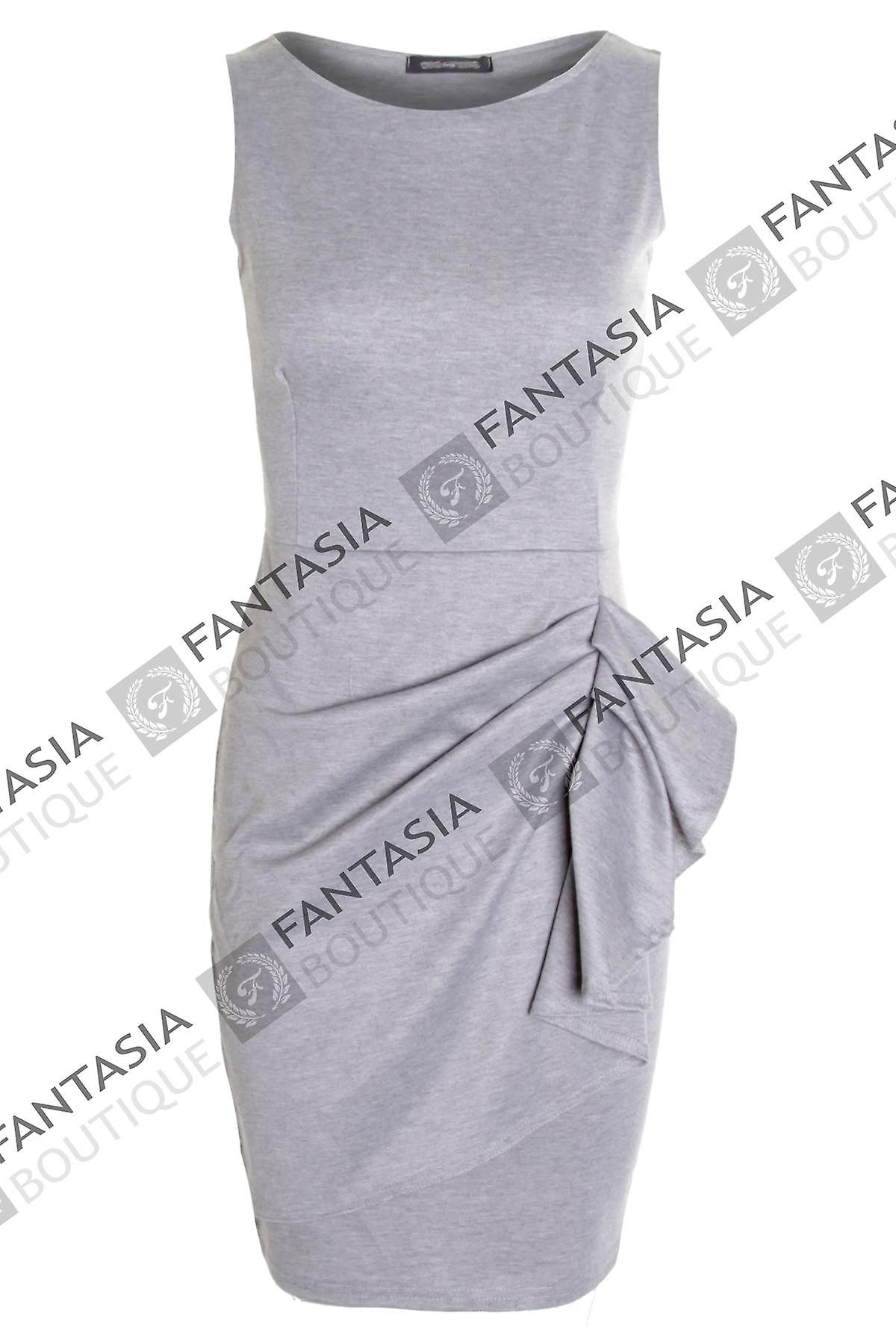 Ladies Ruched Sleeveless Side Gathered Bow Stretch Women's Plain Dress
