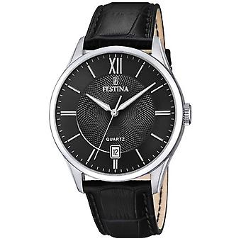 Festina | Mens Stainless Steel | Black Leather Strap | Black Dial | F20426/3 Watch