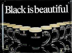 Guinness Black Is Beautiful metal postcard / mini sign   (hi)