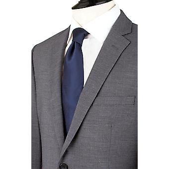 Dobell Mens Grey Sharkskin 2 Piece Suit Tailored Fit Notch Lapel
