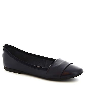 Leonardo Shoes Women's handmade slip-on ballet flats in blue calf leather