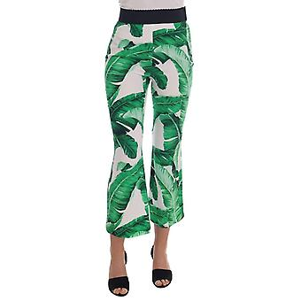 Dolce & Gabbana Green Banana Leaf Stretch Flare Pants -- BYX1120688