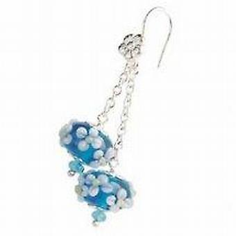 Toc Beadz Sterling Silver Blue 10mm Bead Drop Earrings