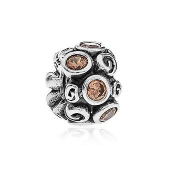 Pandora Spot & Swirl Silver & Brown CZ Charm 790330BCZ