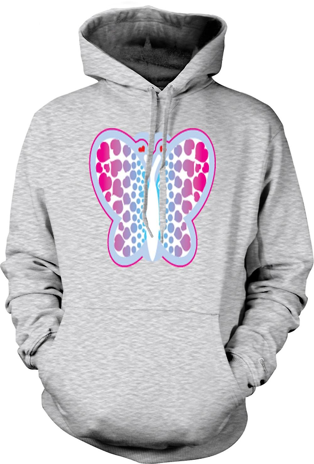 Mens Hoodie - Butterfly with Hearts