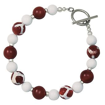 Eternal Collection Portamento Carnelian White Jade Beaded Bracelet