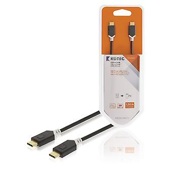 USB 2.0 Cable USB-C Male - USB-C Male 1.00 m Anthracite