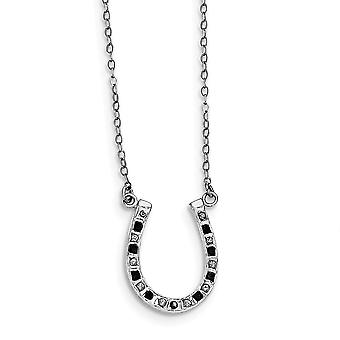925 Sterling Silver Polished Gift Boxed Spring Ring Platinum-plated Diamond Mystique B and W Dia. 18inch Cross Necklace