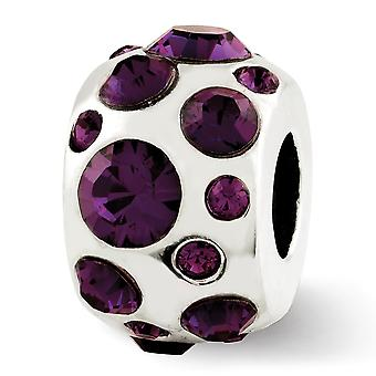 925 Sterling Silver Polished Reflections February Crystal Bead Charm