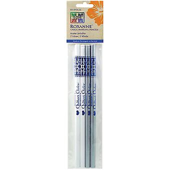 Water Soluble Chalk Marking Pencils 4 Pkg 2 Each White & Silver Rx Bpen M