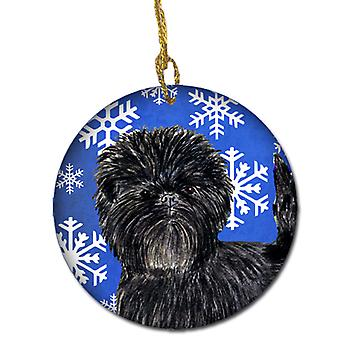 Affenpinscher Winter Snowflakes Holiday Christmas Ceramic Ornament SS4649