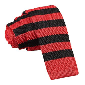 Men's Knitted Red & Black Striped Tie