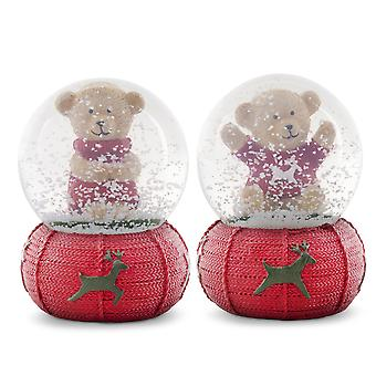 Pair of Red Knitted Christmas Bear Snow Globe Decoration Ornaments