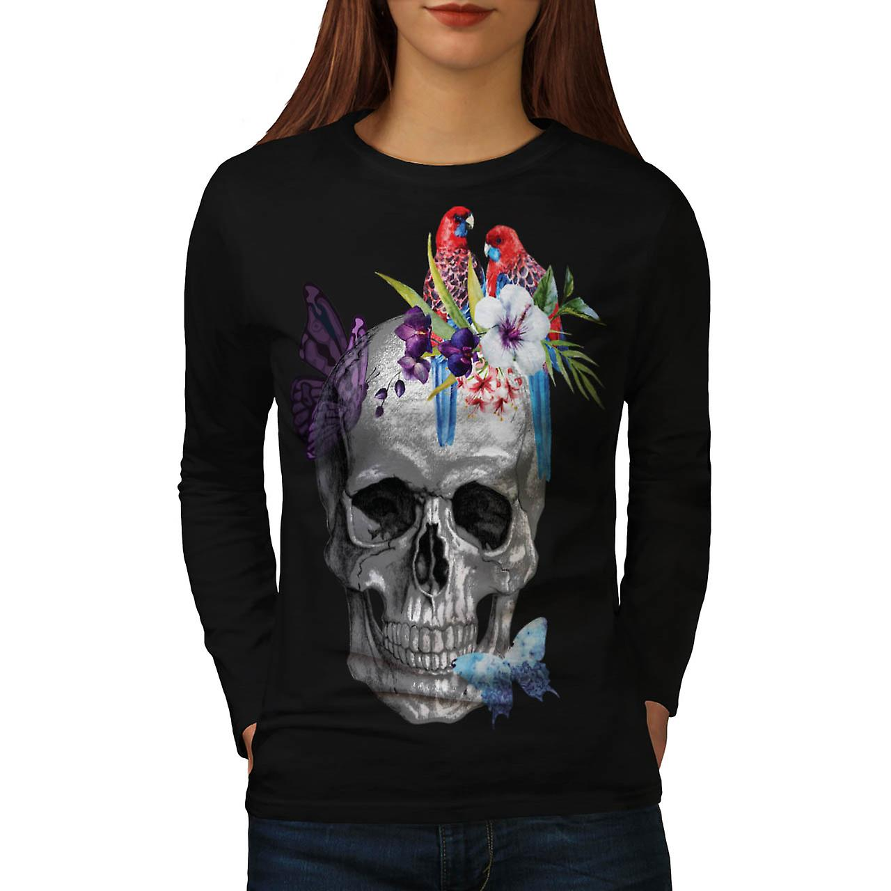 Skull Rose Flower Soul Head Art Women Black Long Sleeve T-shirt | Wellcoda