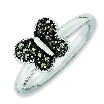 2.25mm Sterling Silver Stackable Expressions Marcasite Butterfly Ring - Ring Size: 5 to 10