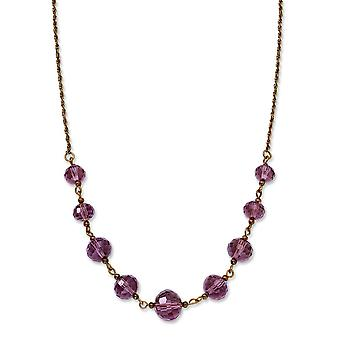 Rose-tone Purple Crystal Bead 16 Inch With ext Necklace